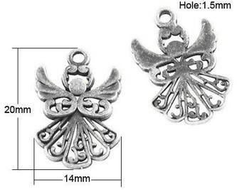 2 charms small angels in antique silver lace dress