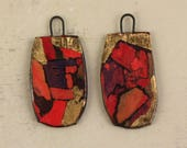 Handmade unusual ceramic art charms earrings connectors dangles glaze fired in decals gold