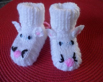 """Baby booties (0-3 months) woolen """"Mouse"""""""