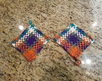 Stocking Stuffer, Kitchen Potholders, Coffee Mug Rug, Potholders, Coasters, Woven Potholder, Housewarming, Kitchen Trivet, Matching Pair