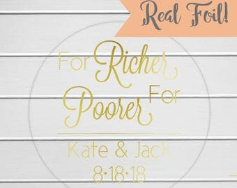 For Richer, For Poorer Stickers, Lottery Ticket Wedding Labels, Customizable Wedding Stickers (#217-1-CF)