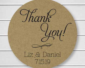 Wedding Thank You Stickers, Kraft Thank You Stickers, Printed Stickers, Wedding Favor Thank You Labels  (#012-KR)