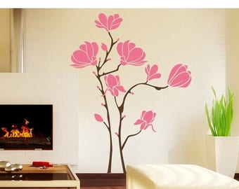 20% OFF Summer Sale Magnolia flower wall decal, sticker, mural, vinyl wall art