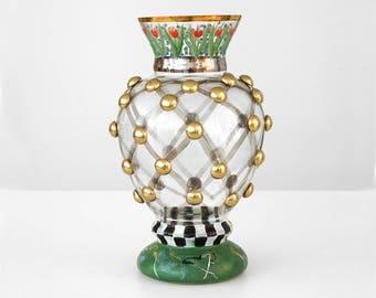 mackenzie-childs glass vase, mackenzie-childs william flower vase, mackenzie childs tulip vase, mackenzie childs vase, hand painted vase