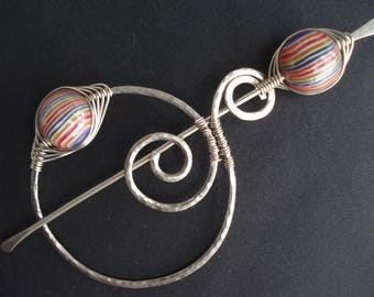 Silver Hammered Shawl Scarf Pin 3 Opsions Beads Wire Wrapped  Pin Beaded Fibula Pin Modern Red Green Purple Silver Wire Scarf Shawl Pin