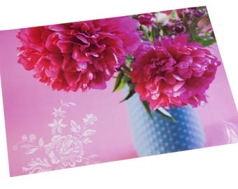 Laminated placemat pink peonies and blue vase