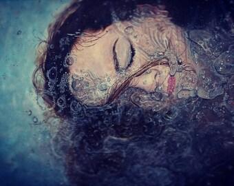 A4 Beautiful Underwater Drowning Girl Portrait Print