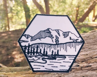 Nature Patch, Iron On Outdoors Patch, Wilderness Patch, Embroidered Mountain Patch, River Patch, Explorer Patch, tree Patch, Camp Patch