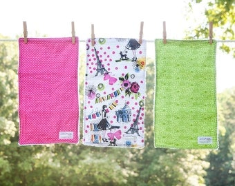 Handmade Burp Cloths, Set of 3 Burp Cloths, Baby Shower Gift, Baby Burp Cloths, Girl Burp Cloths, Chenille Burp Cloths, Modern Burp Cloths