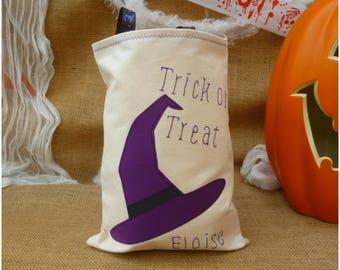 Personalised Halloween Treat Bag, Trick or Treat Bag, Personalised Witch Bag, Candy, Sweetie bag, Witch Costume, Loot Bag, Goody Bag