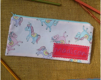 Personalised Pencil Case, Unicorn Pencil Case, Girls Pencil Pouch, Back to School Gift, Unicorns Case, Gift for Girls, Unicorn Gift,