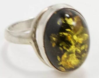 Vintage baltic green amber sterling silver ring