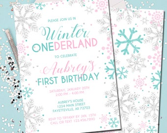 Winter ONEderland Invitation, First Birthday, 1st, Pink and Silver Winter ONEderland, Pink and Silver, Mint, Silver, Snowflakes, Printable