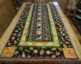 """Haunting Halloween Overize Quilted Table Runner  32"""" x 72"""""""
