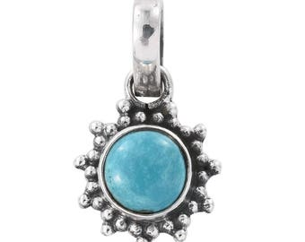 Artisan Crafted Arizona Sleeping Beauty Turquoise Sterling Silver Pendant