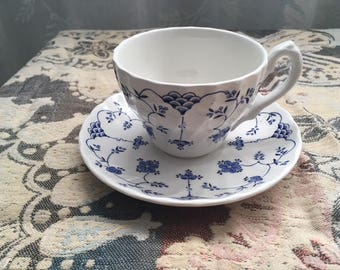 Cup and Saucer Yorktown Salem China, Blue and White Transferware, English Ironstone