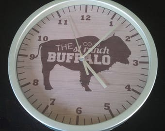 clock wall bison ranch cowboy buffalo country