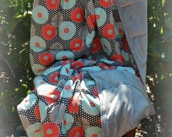 Adult Weighted Blanket - Orange, Gray, Teal Print/Gray Smooth Minkee
