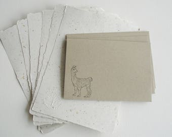 Writing Paper with Llama Fibre, Letter Set, Recycled Paper Sheets and Envelopes, Handmade Paper, Llama Gifts, Writing Set, Llama Products