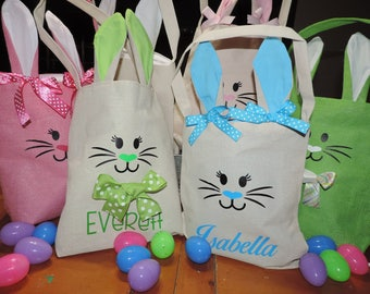 Personalized Easter Basket Bag - Burlap and Linen Available - DESIGN YOUR OWN! - Cutest Bunny Ears Ever!
