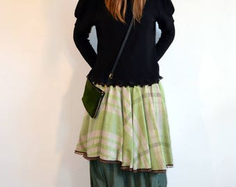 midi skirt green and brown,french