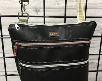 Vegan leather (cork) triple zip bag.