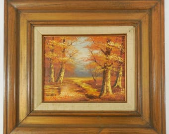 Original Framed Oil Painting on Canvas by Wilson, 8 x 10 Fall Autumn Landscape