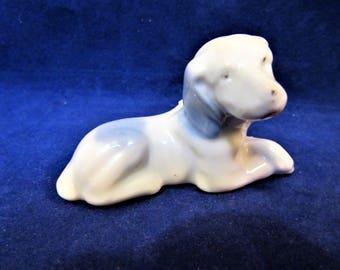 Sale Dog Figurine Blue Spots Pets Puppy Porcelain Ceramic Vintage