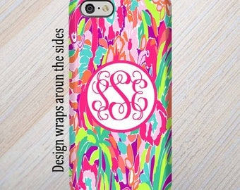 iPhone 6 Case, Personalized, iPhone Case, iPhone 7 Case, Lilly Pulitzer Inspired, iPhone X Case, iPhone 8 Case, Monogram Case, Galaxy S8