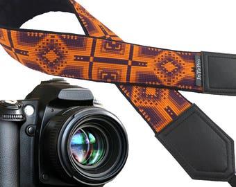 Ethnic Camera strap. Inspired by American Indians. Orange and dark purple DSLR / SLR Camera Strap. Caramel. Camera accessories.