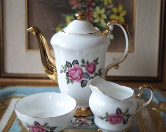 Vintage pink rose tea set