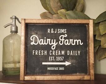 Dairy farm sign