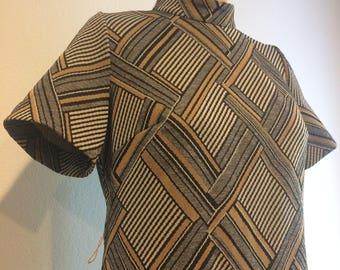Vintage 60's Geometric Mod A Line Dress by Hopewell Custom Sizes A Division of Jonathan Logan, INC.