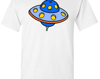 Cartoon Blue UFO Flying Saucer Men's White T shirt
