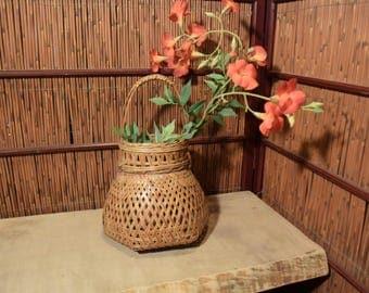 Fine Japanese Ikebana Bamboo Basket Flower Arrangement With Inner Water Vesel