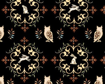Where the Wise Things Are, Owl Medallions in Black Cotton Woven by Dan Morris