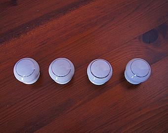 4 Porcelain drawer knobs with silver ornament, vintage ceramic drawer pulls.
