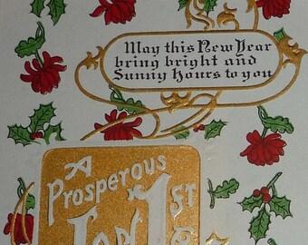 ON SALE till 6/30 A Prosperous Jan 1st. New Year Antique Postcard