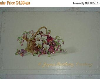 Clearance Sale Small Basket of Violets Antique Birthday Postcard