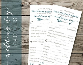 Boho Wedding Guest MadLibs | Customized Mad Libs | Custom Wedding Stationery | Advice for the Bride & Groom