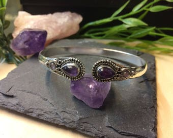 Amethyst Silverplated Brass Bracelet
