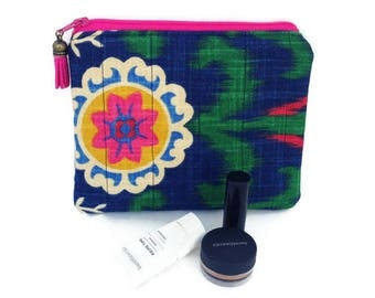 Cosmetic pouch, Make up purse, Toiletry pouch, Boho bags, Padded cosmetic bag, Cotton purse, Small toiletry bag, Vegan purse, Blue purse