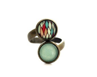 "Little Bohemian double ring ""green abstract cells"" - retro vintage bronze"