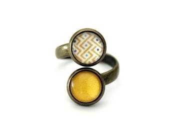 """Small double ring Bohemian """"yellow and turquoise braid"""" - retro vintage bronze"""