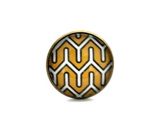 """""""Yellow and white graphic"""" Bohemian ring adjustable retro brass cabochon"""