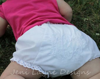 Infant/Toddler Monogrammed Bloomers- monogrammed diaper cover, white diaper cover