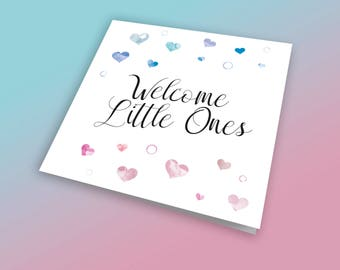 Welcome Little Ones, Baby Twins Card, Boy Girl Twins, Twins, New Baby Card, New Baby