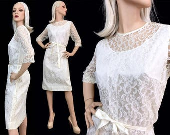 Vintage 50's 60's Pin Up Dress White Lace Belted Rockabilly Wedding XL