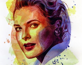 The power of color - Grace Kelly  Watercolor portrait Modern style hand-painted