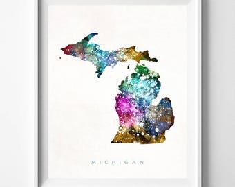 Michigan Map Print, Lansing Print, Michigan Poster, Lansing Map, Watercolor Painting, Map Poster, Home Decor, Maps, Mothers Day Gift